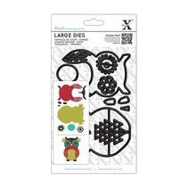 X-cut, punch template, A5 Set (9pcs) - Owl