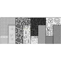 Decoupage papir, sortiment sort og hvid, ark 25x35 cm, 8 slags. Sheet