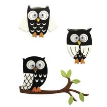 Autocollant 3D: Owl noir, avec point de colle, 3 pièces