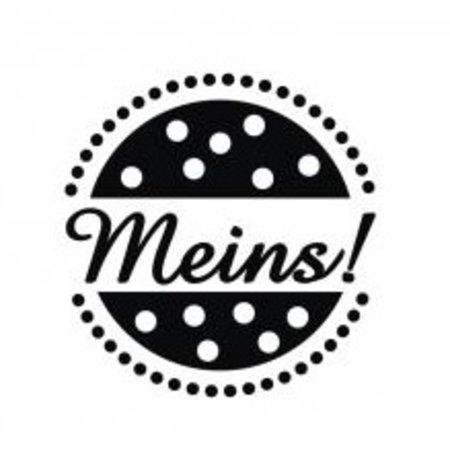 """Stempel / Stamp: Holz / Wood mini estampilla de madera con las palabras alemanas """"mío"""", de 2 cm ø"""