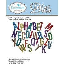 Stempling og prægning stencil, Elizabeth Craft Design alfabet 1-967 Hat