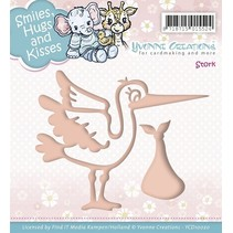 Embossing and cutting template, stork