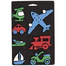 Mousse de timbre ensemble, transport, train et avion pour les enfants