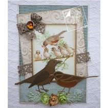 Skæring og prægning stencils, Spring Kærlighed, fugle