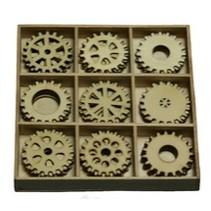 Engranajes 30 piezas en una caja de madera !! 10.5 x 10.5 cm