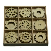 Gears 30 parts in a wooden box !! 10.5 x 10.5 cm