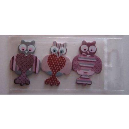Embellishments / Verzierungen 3 figurines en bois peint, 25-45 mm, hibou