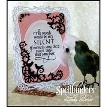 Spellbinders, le poinçonnage et le gaufrage pochoir, stencil métallique D-Lites, oiseaux Scrolls