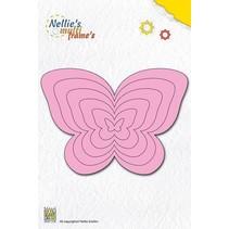 Stansning og prægning skabelon Nellie`s multiramme, sommerfugle