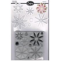 Estampage et Pochoir gaufrage, Sizzix poinçonner Framelits avec Set de jeu de timbres fleurs étoiles