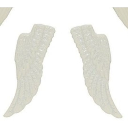 Embellishments / Verzierungen Establecer alas de metal, 4 piezas, blanco