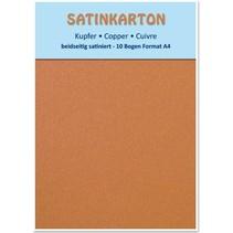 10 feuilles, carton Metallic Set A4, fini satiné métallisé sur les deux côtés, 250gr. / Mètre carré, le cuivre