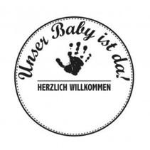 Holzstempel, texto alemán, tema: Bebé