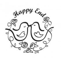 "Sello de madera, texto, ""Happy End!"""