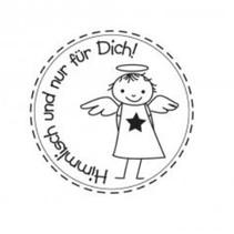 """Holzstempel, tyske tekst, """"himmlich og til dig!"""""""