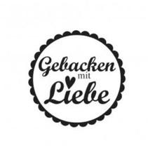 """Holzstempel, tyske tekst, """"Bagt med kærlighed!"""""""
