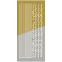 Sticker, Kombi-Sticker,( Ränder, Ecken, Texte) Kondolenz, gold-gold