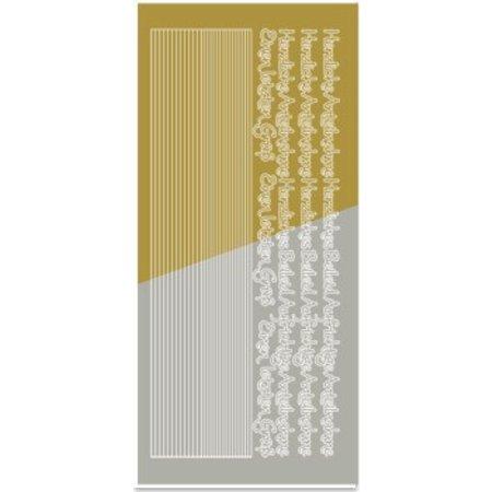 Sticker Pegatinas, etiqueta engomada combi, (bordes, esquinas, textos) condolencia, oro y oro