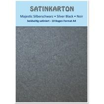 """Satin carton de format A4, recto-verso 250gr de satin avec gaufrage. / Mètre carré, """"Majestic"""" argent noir"""