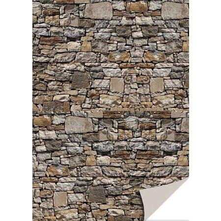 DESIGNER BLÖCKE  / DESIGNER PAPER 5 feuilles de papier cartonné avec l'apparence de la pierre, la pierre naturelle, brun