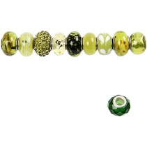 Perles de verre Harmony, D: 13-15 mm, verts, classé 10