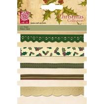 Rubans décoratifs Set, 5 x 1 MTR., Motifs de Noël