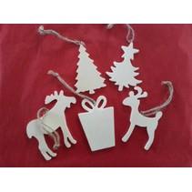 5 motifs différents de Noël en bois + 1 traîneau en bois EXTRA!