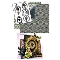 Set: Klare stempler, silhuet + 2 ark Designer Papir + 2 baserede kort!