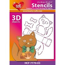 Plastik Schablone 3D Katze, Größe: 21 x 30 cm
