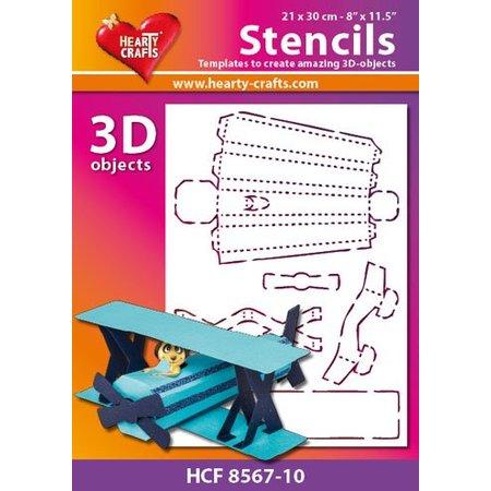 Schablonen und Zubehör für verschiedene Techniken / Templates 3D d'aéronef de masque en plastique, Taille: 21 x 30 cm