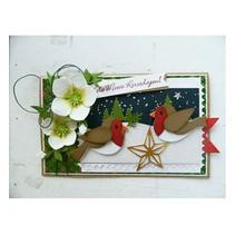 Estampage et Pochoir gaufrage, de collection, des oiseaux avec la star et la branche