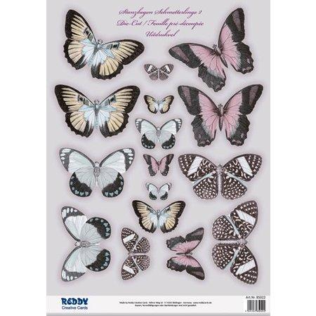 Embellishments / Verzierungen 2 mourir feuilles coupées, avec plus de 30 papillons