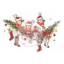 Tampons transparents, couronne de Noël