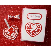Punching - and embossing stencil, filigränes heart with angel