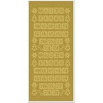 Klistermærker, tal til jul strømper, guld