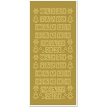 Stickers, figures for Christmas stockings, gold