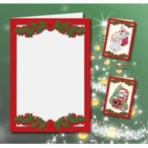 5 tarjetas dobles A6, Passepartout - tarjetas de Navidad, en relieve de color rojo