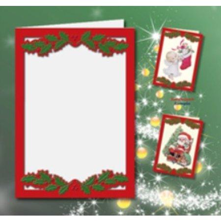 KARTEN und Zubehör / Cards 5 cartes doubles A6, Passepartout - cartes de Noël, en relief rouge