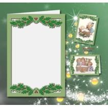 5 cartes doubles A6, Passepartout - carte de Noël, gaufré, vert