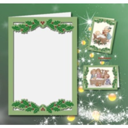 KARTEN und Zubehör / Cards 5 cartes doubles A6, Passepartout - carte de Noël, gaufré, vert