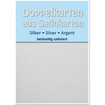 10 satinado dobles tarjetas A6, plata, acabado satinado en ambas caras