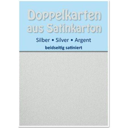 KARTEN und Zubehör / Cards 10 satinado dobles tarjetas A6, plata, acabado satinado en ambas caras