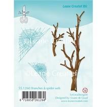 Transparent Stempel, Zweige und Spinnewebe