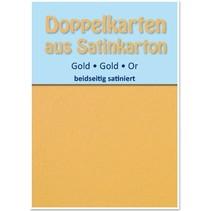 10 Satin dobbelt kort A6, guld, satin på begge sider
