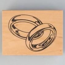 Timbre en bois, anneaux de mariage, 40 x 60 mm