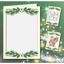 5 cartes doubles A6, Passepartout - cartes de Noël, de la crème en relief