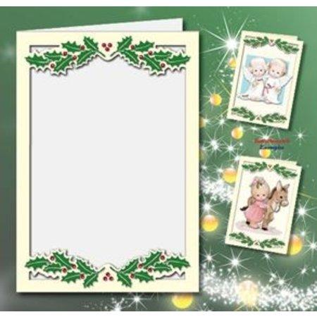 KARTEN und Zubehör / Cards 5 cartes doubles A6, Passepartout - cartes de Noël, de la crème en relief