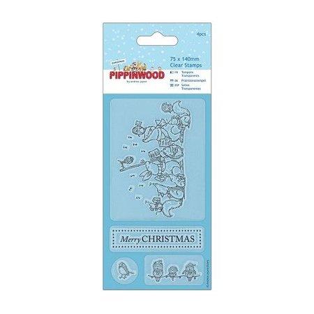 Stempel / Stamp: Transparent Gennemsigtig stempel, Pippi Wood jul