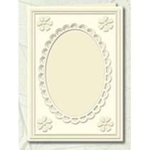 5 cartes Passepartout avec décolleté ovale et de la dentelle, des chamois (crème)