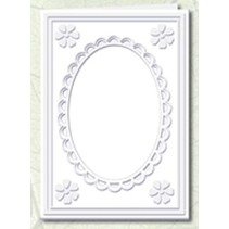 5 Passepartout cards with oval neckline and lace trim, white